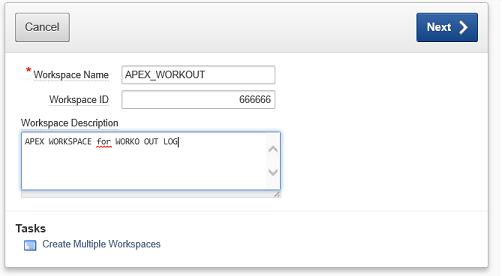 První formulář při vytváření WORKSPACE