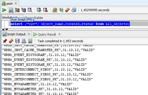 CSV hint v SQL Developeru