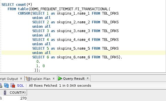Ukázka výsledku DBBMS_FRQUENT_ITEMSET.fi_transactional - count