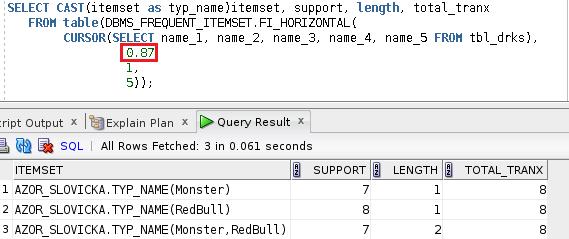 Výsledek funkce DBMS_FREQUENT_ITEMSET.FI_HORIZONTAL 2