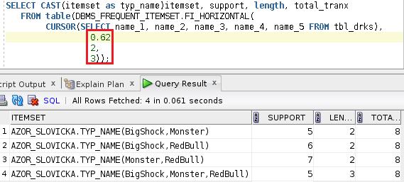Výsledek funkce DBMS_FREQUENT_ITEMSET.FI_HORIZONTAL 3