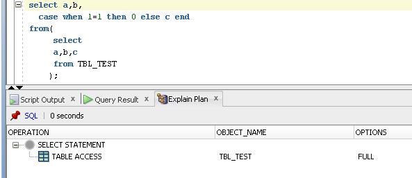 Exekuční plán pro select a,b,case..