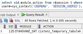 Session info setnuté pomocí dbms_aplication_info